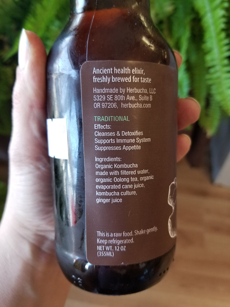 Eva's Herbucha Kombucha - with Ginger - 12 oz