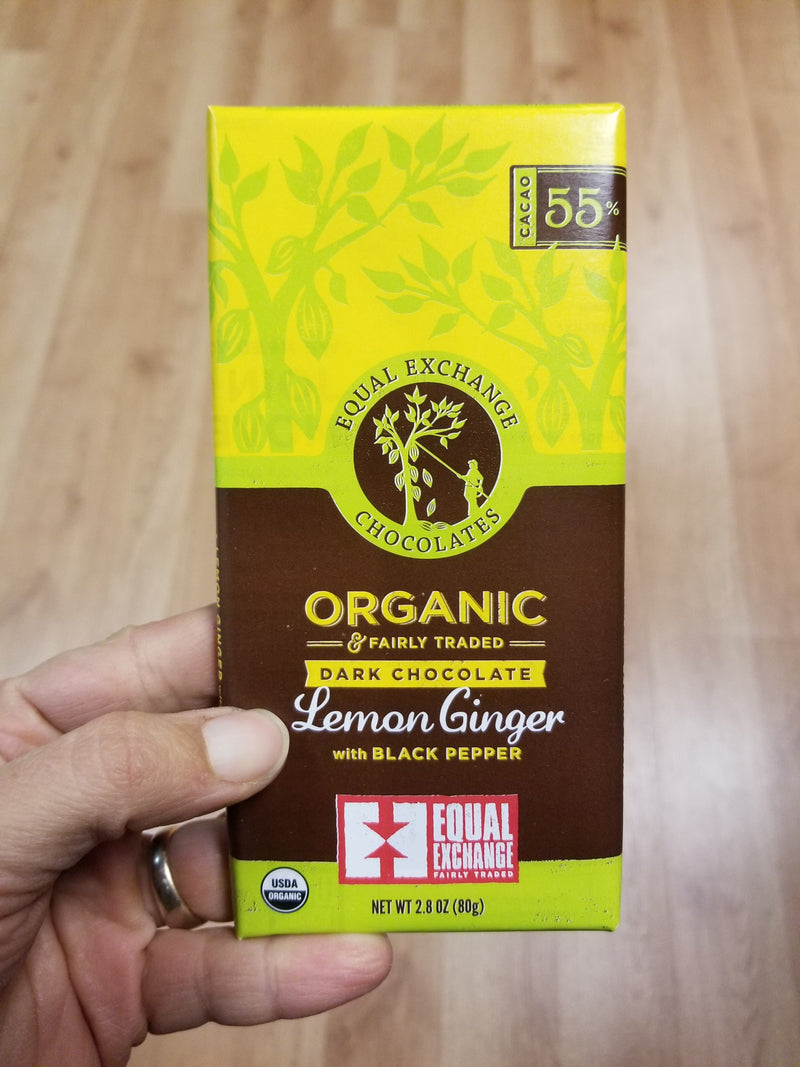 Equal Exchange Dark Chocolate With Lemon Ginger and Black Pepper Bar