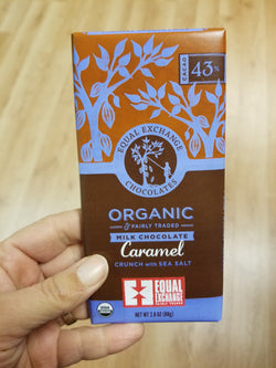 Equal Exchange Milk Chocolate With Caramel Crunch and Sea Salt Bar