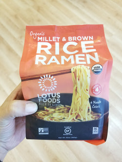 Organic Millet and Brown Rice Ramen Noodles - Lotus Foods - 4 Noodle Cakes
