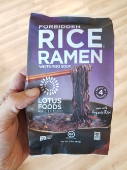 Forbidden Rice Ramen Noodles - Lotus Foods - 1 Noodle Cake with Miso Packet