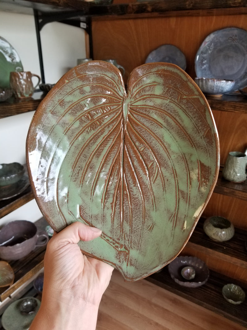 Hosta Leaf Pottery Platter