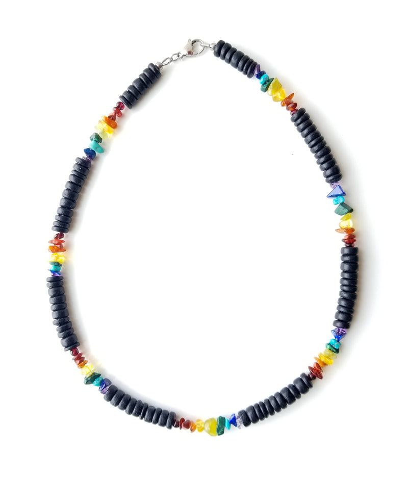 Men's Beaded Necklace - Wooden Rainbow