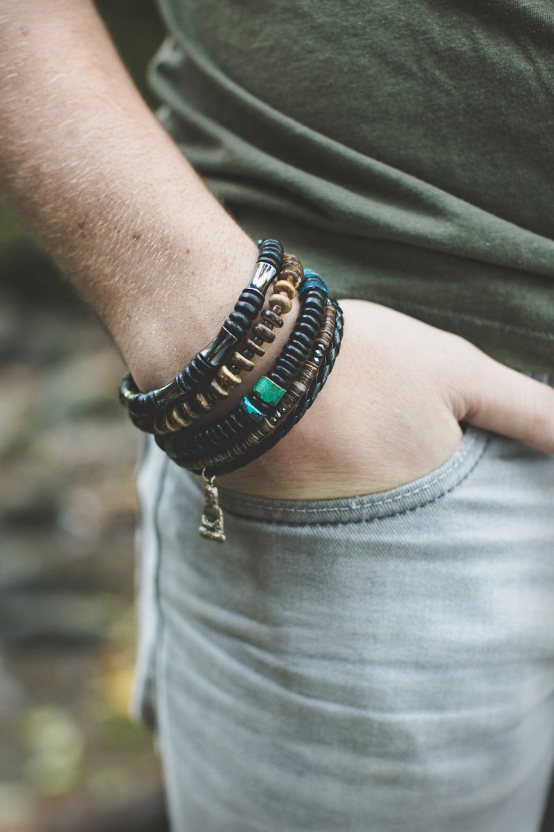 Men's Stacked Bracelets by Jenny Hoople of Authentic Men (model shot)