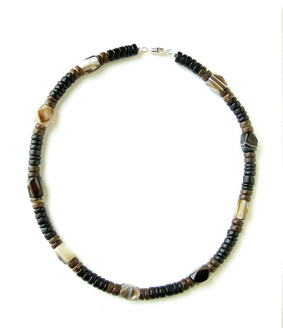 Men's Beaded Necklace - Agate and Wood