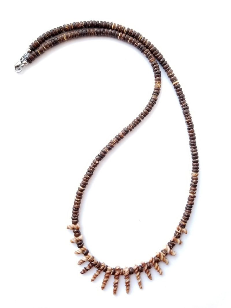 Women's Beaded Necklace - Earth Shells
