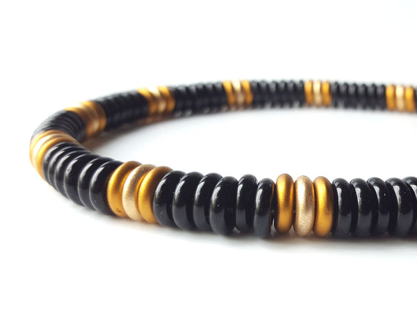 Men's Designer Necklace - Black and Gold