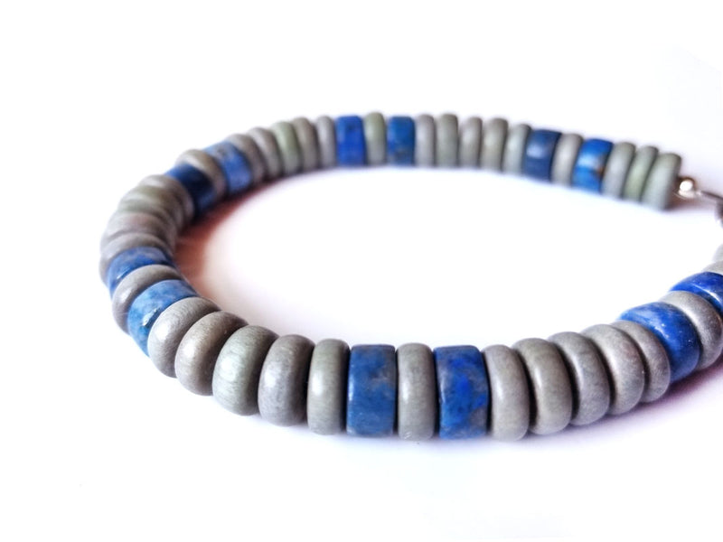 Men's Beaded Bracelet - Cadet Blue