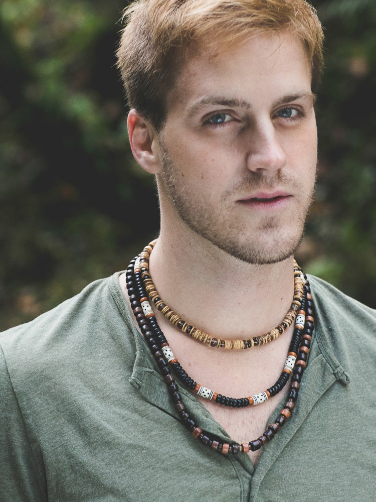 Tribal Mens Jewelry by Jenny Hoople of Authentic Men (model shot)