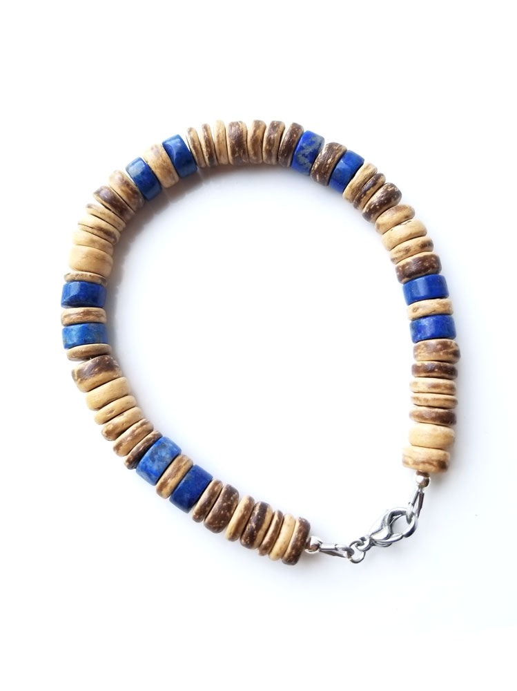 Men's necklace and bracelet set by Authentic Men - Tribal Lapis