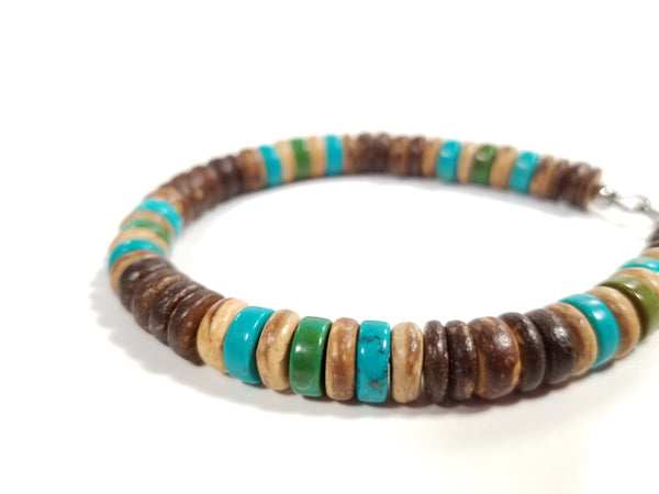 Men's bracelet handmade from wood and gemstone beads by Jenny Hoople of Authentic Men