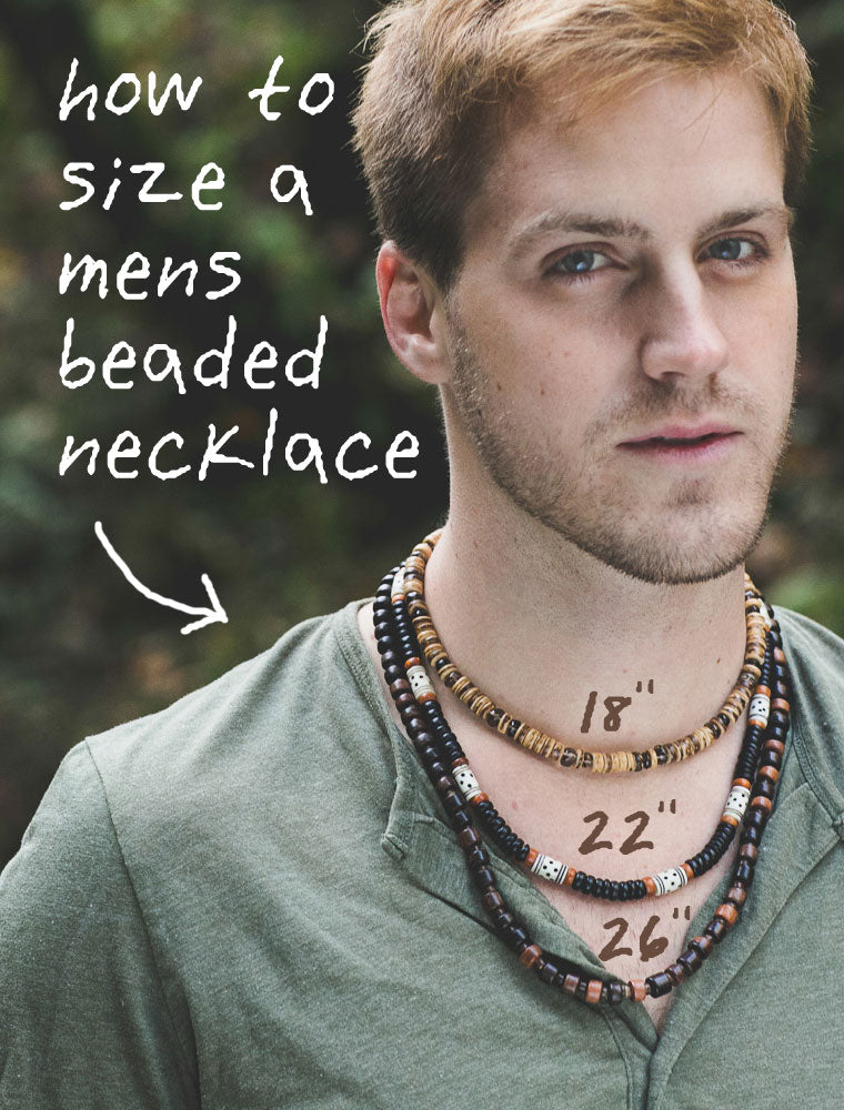 How to size a mens beaded necklace.