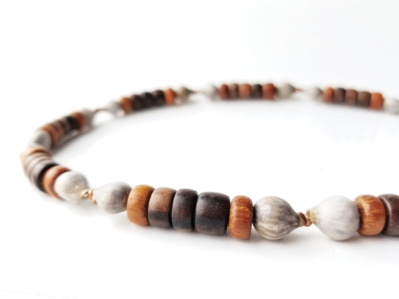 Men's necklace with home grown seeds by Jenny Hoople of Authentic Arts