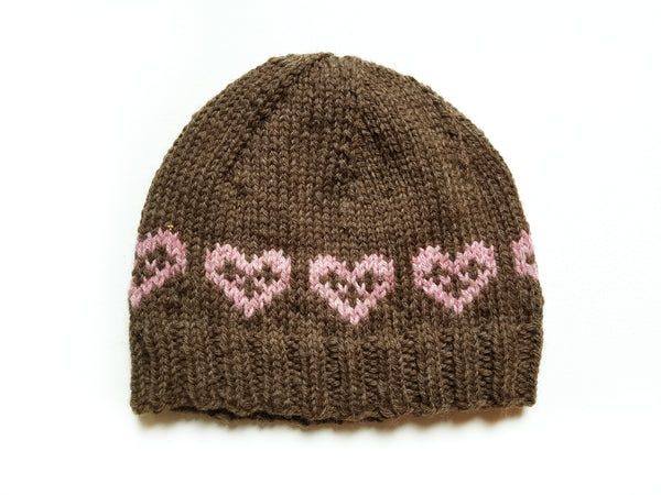 Hand Knit Hat - Hearts