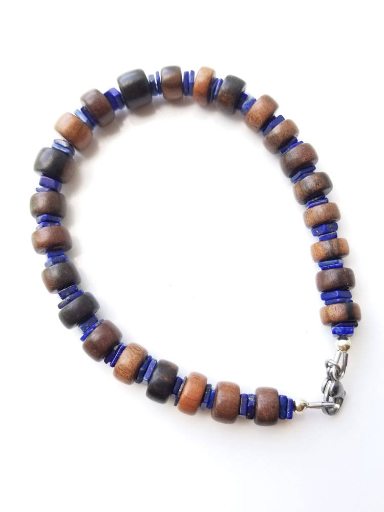 Men's Beaded Necklace and Bracelet Set - Ebony and Lapis