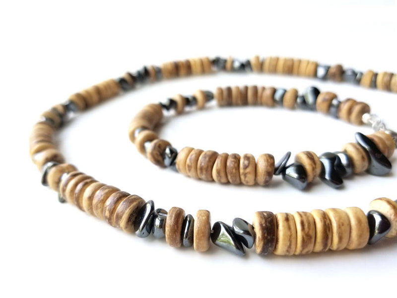 Men's Beaded Necklace and Bracelet Set - Quicksilver