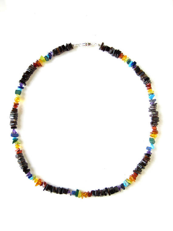 Men's Beaded Necklace and Bracelet Set - Rainbow Surfer