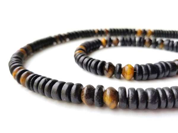 Men's Beaded Necklace and Bracelet Set - Cat's Eye