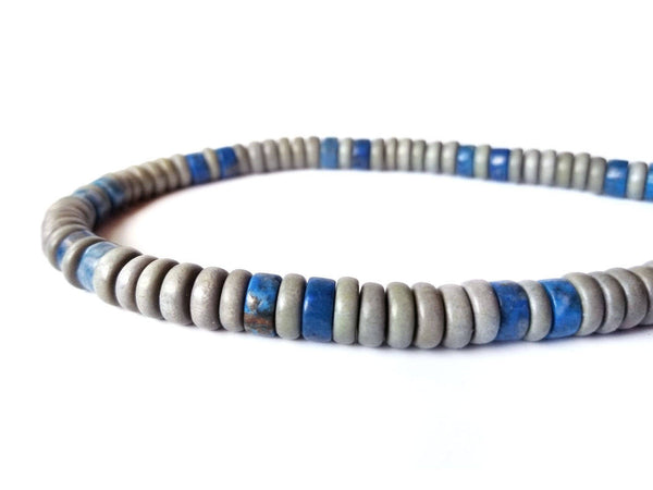 Men's Beaded Necklace - Cadet Blue