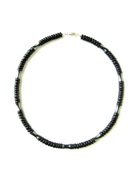 Men's Beaded Necklace and Bracelet Set - Dark Matter