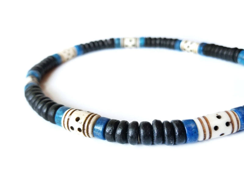 Men's Beaded Necklace - Blue Morocco