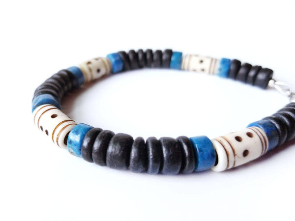 Men's Beaded Bracelet - Blue Morocco