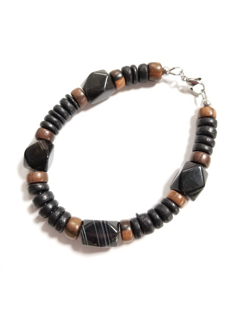 Men's Beaded Bracelet - Black Agate