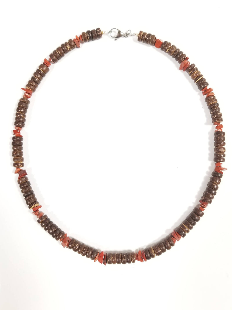 Men's Beaded Necklace - Red Jasper