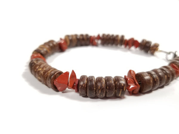 Men's Beaded Bracelet - Red Jasper