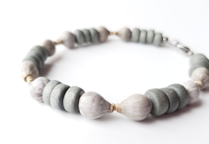 Men's Beaded Bracelet - Grey Job's Tears