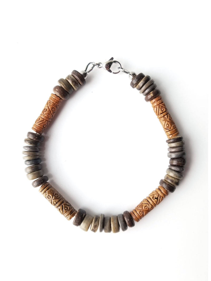 Men's Beaded Bracelet - Terra Cotta