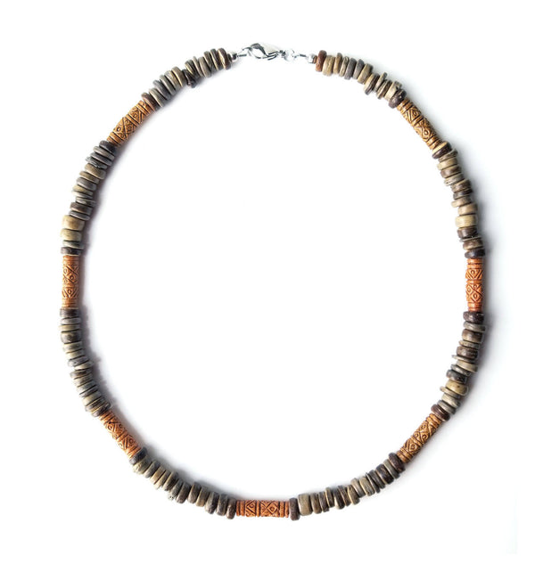 Men's Beaded Necklace - Terra Cotta