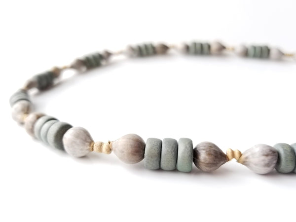 Men's Beaded Necklace - Grey Job's Tears