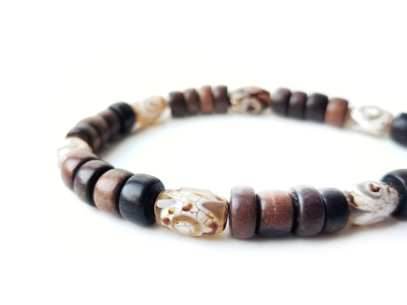 Men's Beaded Bracelet - Tibetan Agate
