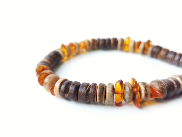 Men's Beaded Bracelet - Pine Resin