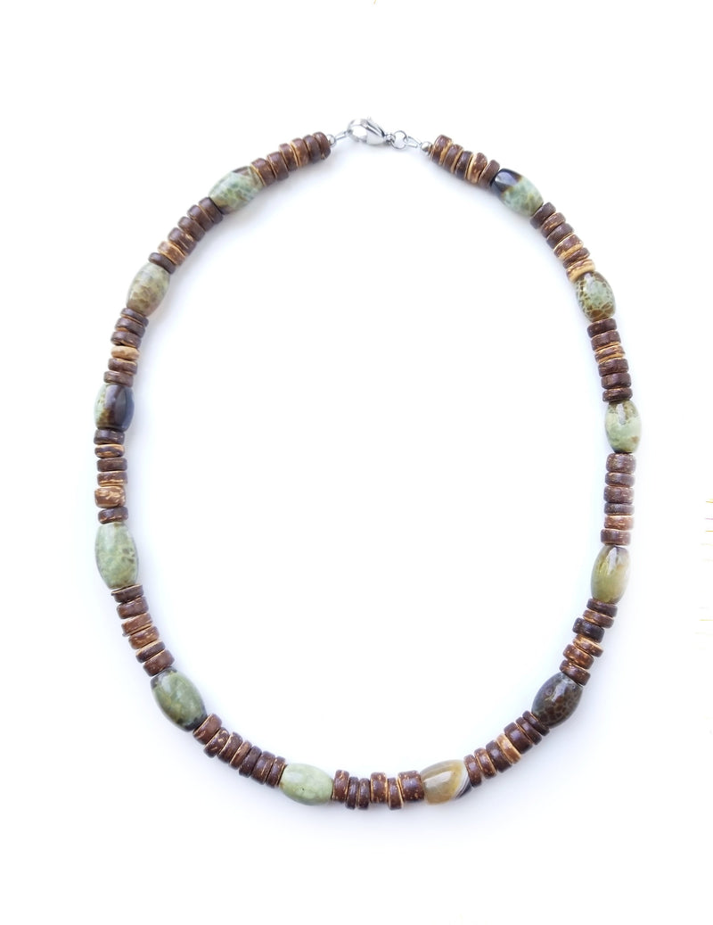 Men's Beaded Necklace - Mossy Log