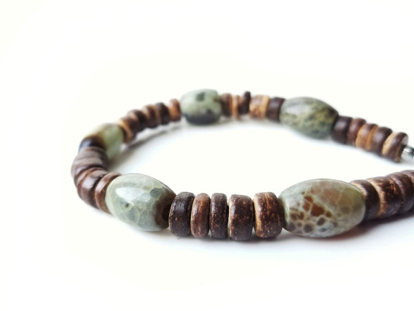 Men's Beaded Bracelet - Mossy Log