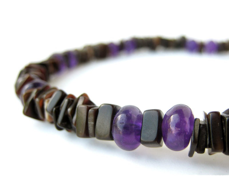 Men's Beaded Necklace - Amethyst Surfer