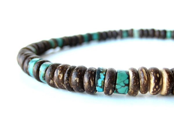 Men's Beaded Necklace - Tribal Turquoise