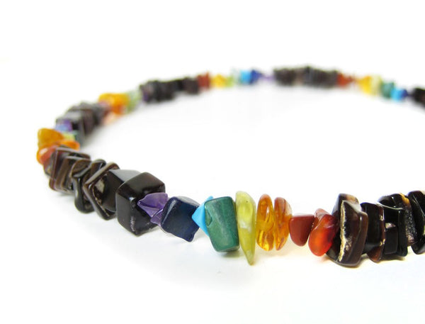 Men's Beaded Necklace - Rainbow Surfer