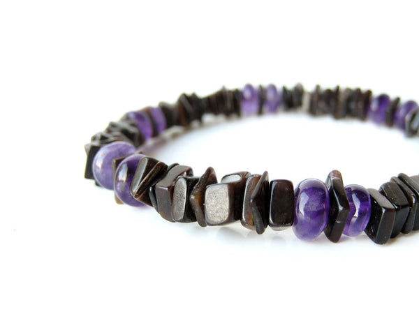 Men's Beaded Bracelet - Amethyst Surfer