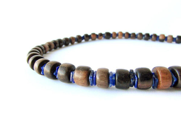Men's Beaded Necklace - Ebony and Lapis