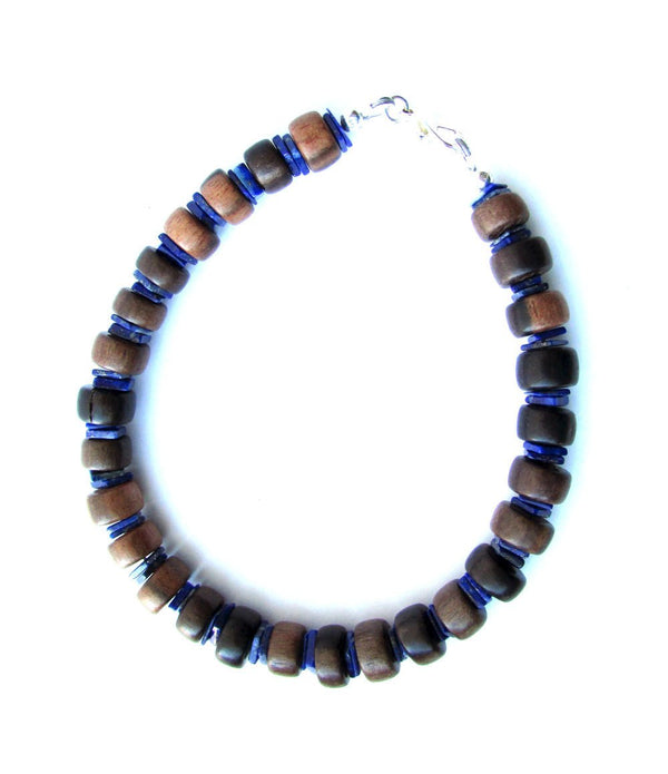 Men's Beaded Bracelet - Ebony and Lapis