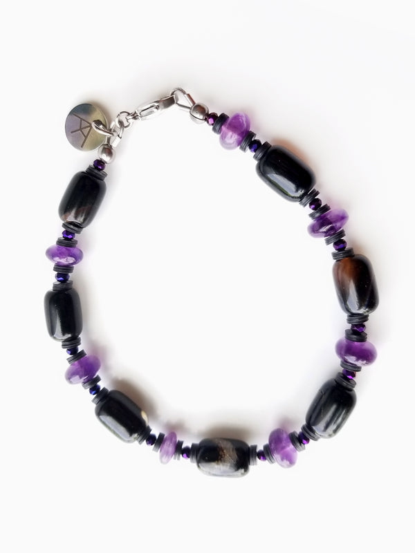 Summit Collection - Men's Luxury Bracelet - Black Agate and Amethyst