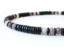 Men's Beaded Necklace - Botswana Agate