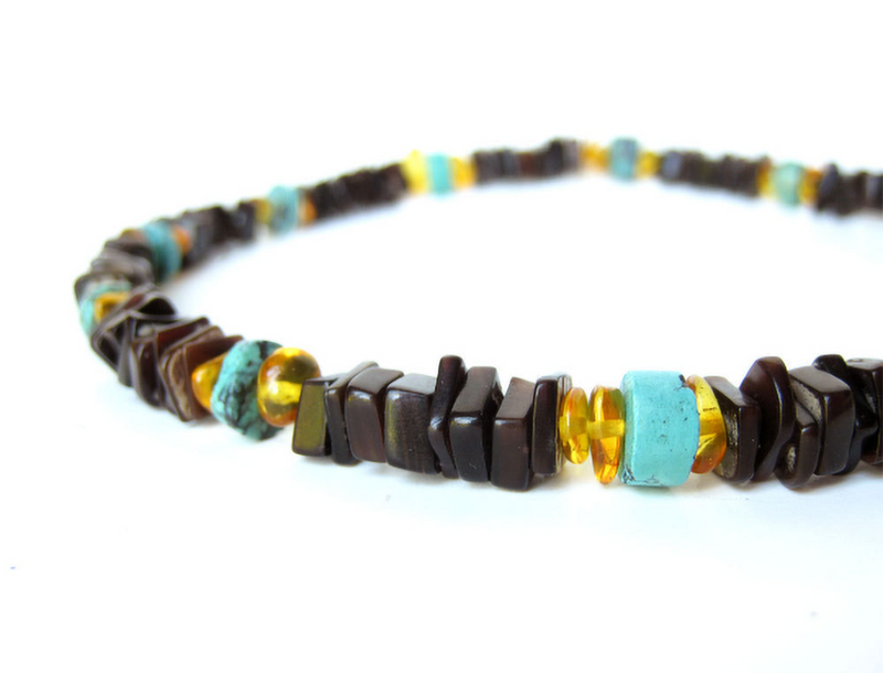 Men's Beaded Necklace - Turquoise and Amber