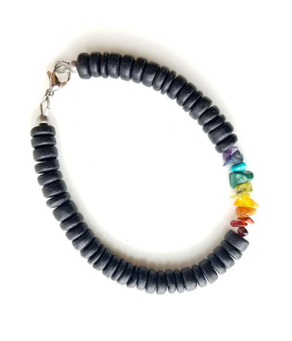 Men's Beaded Bracelet - Wooden Rainbow