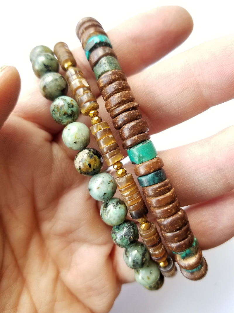 Men's Beaded Bracelet Collection - Tribal Turquoise