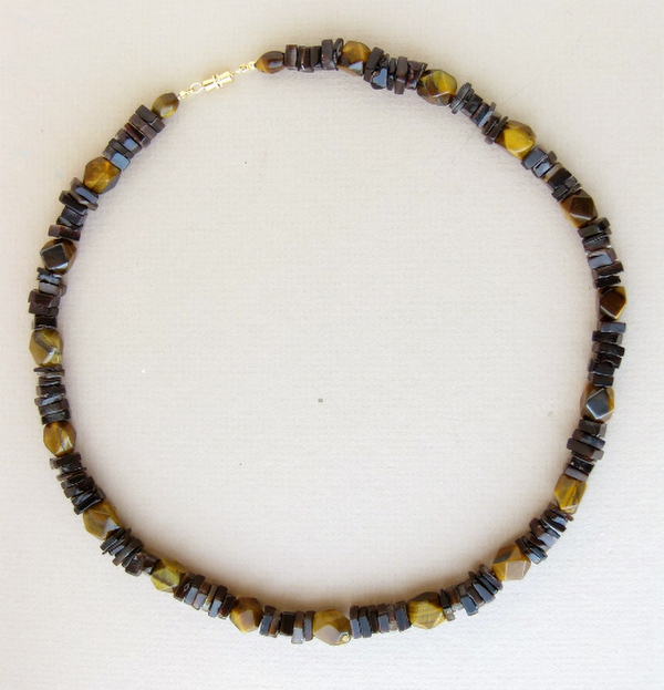 Men's Beaded Necklace - Midnight Tiger