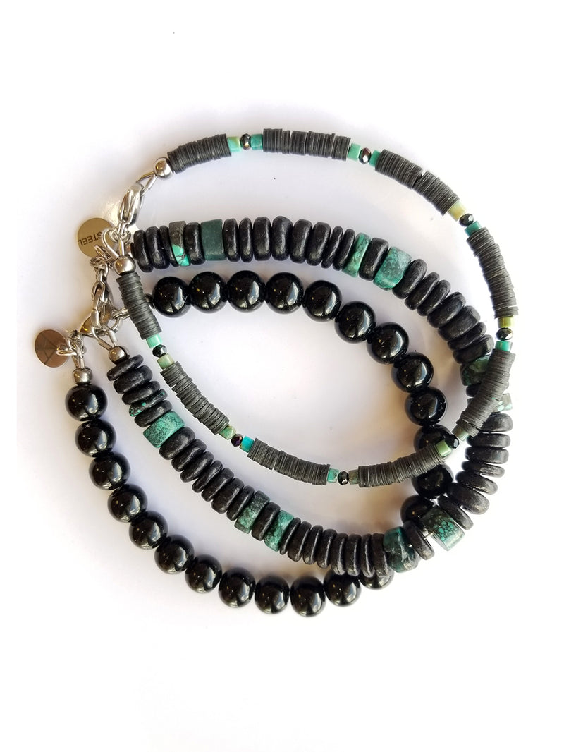 Men's Beaded Bracelet Collection - Midnight Turquoise